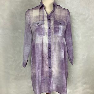 Burberry Brit Purple Plaid Cotton Tunic